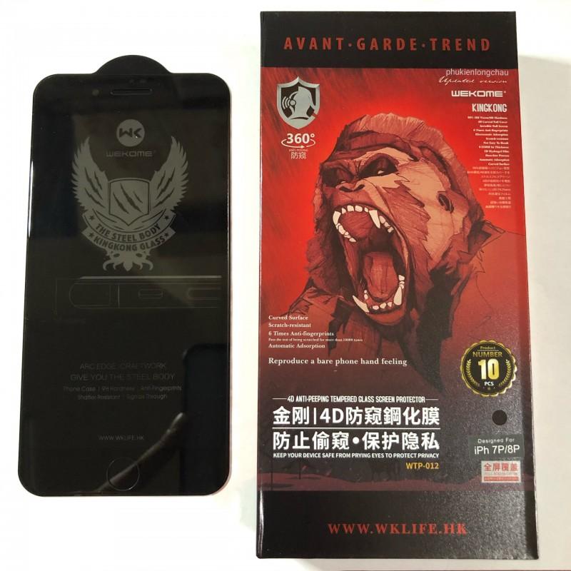 Miếng Dán Cường Lực iPhone 7 Plus/8 Plus Chống Nhìn Trộm 4D Kingkong Không Hộp