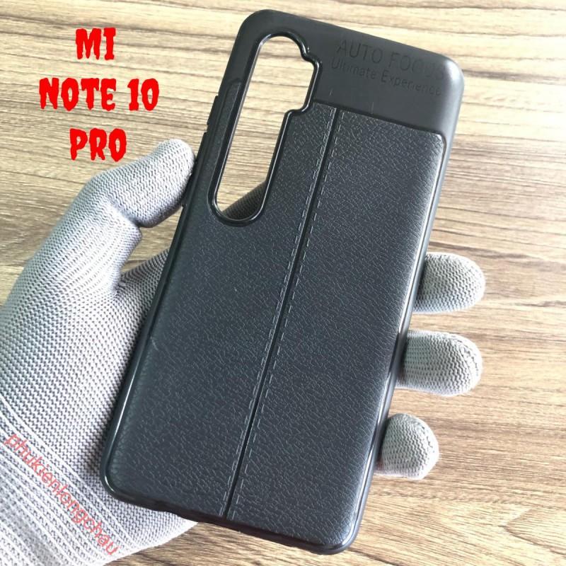 Ốp Lưng Xiaomi Mi Note 10 Pro Dẻo Giả Da Đen Đẹp Baseus Auto Focus
