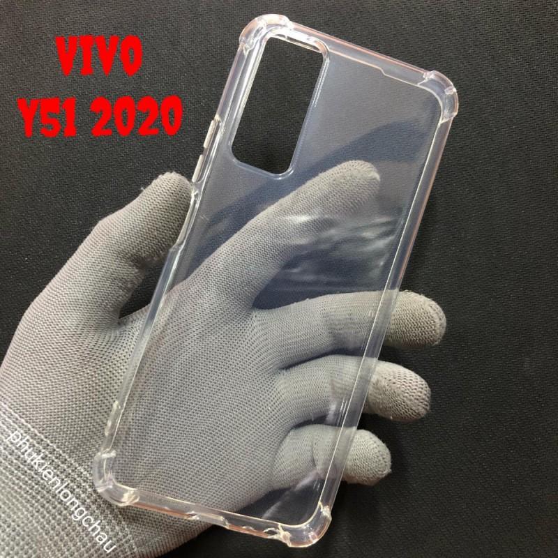 Ốp Lưng Vivo Y51 2020 Dẻo Trong Suốt Chống Sốc Có Gù Bảo Vệ 4 Gốc