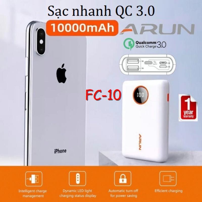 Pin Dự Phòng Arun FC-10 2020 10000 mAh Hổ Trợ Sạc Nhanh (BH 12T)