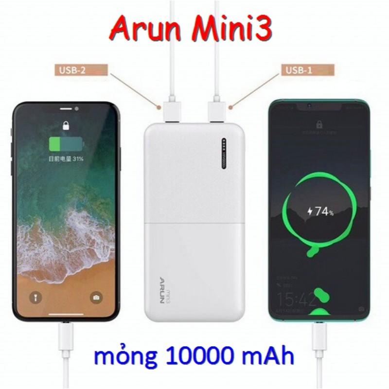 Pin Dự Phòng Arun Mini3 10.000 mAh Mõng Nhám (BH 12T)