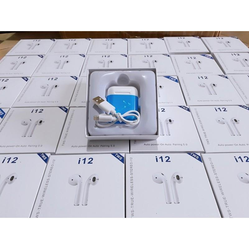 Tai Nghe Bluetooth 2 Tai TWS i12 (Tặng Kèm Hộp Silicon Màu Trị Giá 50.000đ)