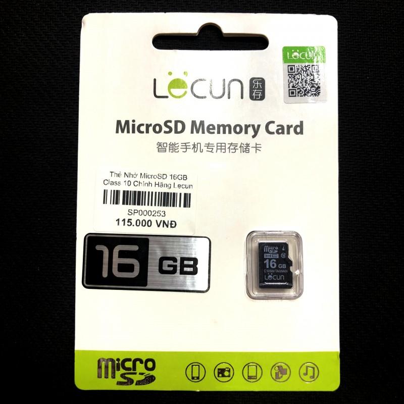 Thẻ Nhớ Camera, Điện Thoại Micro SD 16GB Class 10 Chính Hãng Lecun (BH 36T)