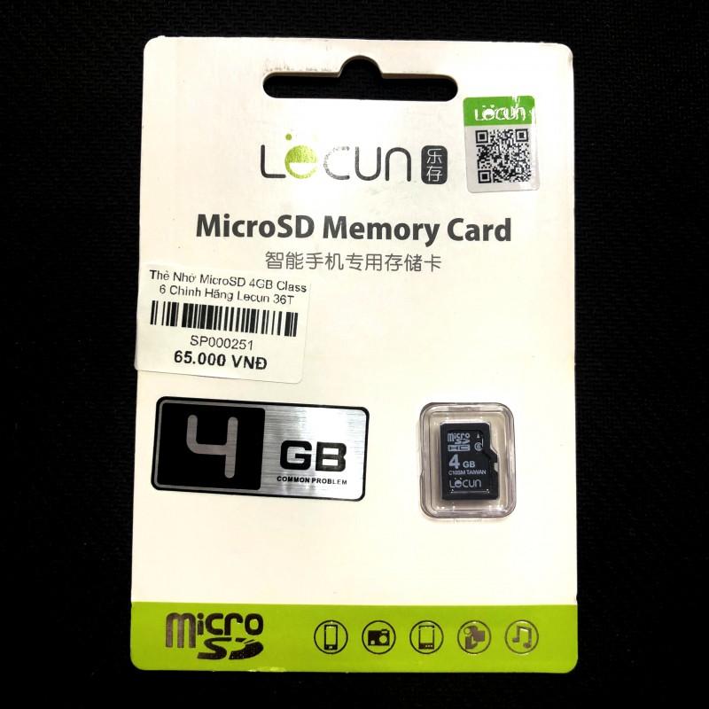 Thẻ Nhớ Loa Nghe Nhạc Micro SD 4GB Class 6 Chính Hãng Lecun (BH 36T)