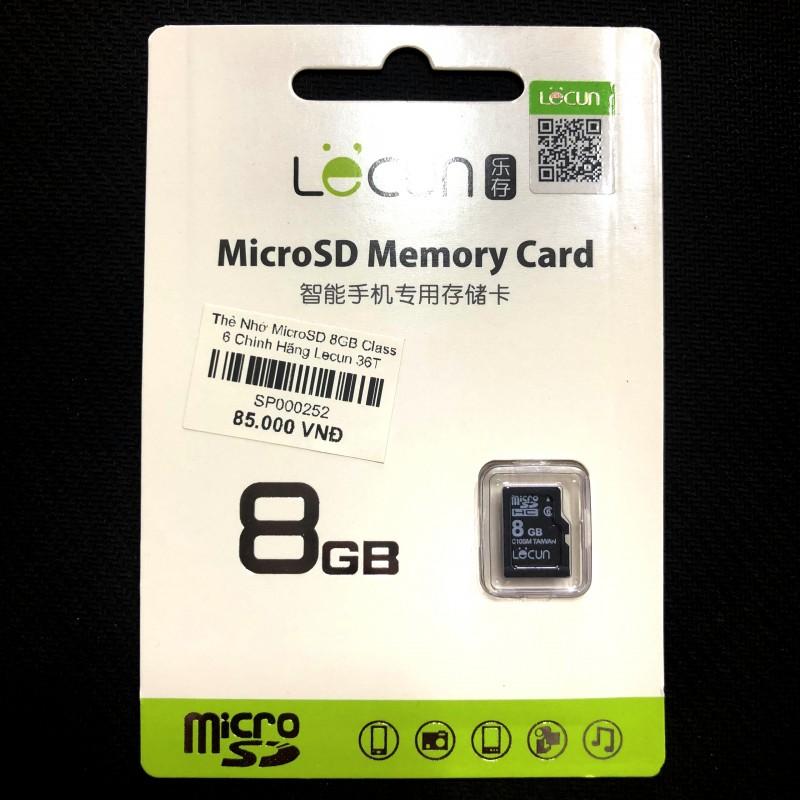 Thẻ Nhớ Loa Nghe Nhạc Micro SD 8GB Class 6 Chính Hãng Lecun (BH 36T)